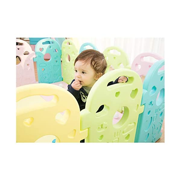 Baby Playpen - Children'S Safety Toys Crawling Mat - Activity Center - Environmental Hdpe - Suitable For 0-6 Children-11 Activity Panel - Rugged - Waterproof  ♥ You can use and combine all the fences to create entertainment for your child anywhere in the home. ♥ It can be changed into different shapes. You can change the frame according to your baby's preferences and bring a different feeling every day. ♥ Can be used as a fence or protective barrier, flexible mounting options, very simple assembly and unlimited scalability. 6