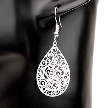 Ohrringe GAIA Tropfen versilbert handmade einzigartig Muster Damen Schmuck Design modern filigran keltisch Esoterik Jugendstil