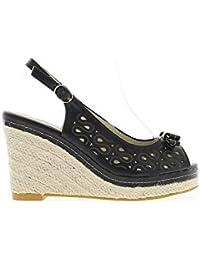 Sandales compensées noires à talons de 10 cm et plateau de 2,5 cm look espadrilles