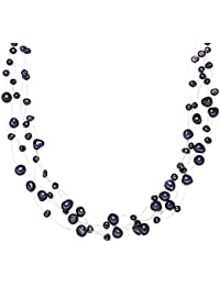 Valero Pearls Classic Collection Damen-Kette Hochwertige Süßwasser-Zuchtperlen in ca.  4-6 mm Barock blau 925 Sterling Silber    43 cm + 5 cm Verlängerung   60201649