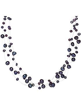 Valero Pearls Classic Collection Damen-Kette Hochwertige Süßwasser-Zuchtperlen in ca.  4-6 mm Barock blau 925...