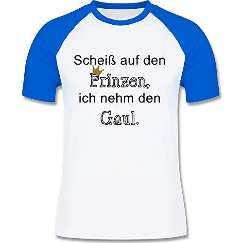 Statement Shirts - Scheiß auf den Prinzen, ich nehm den Gaul - zweifarbiges Baseballshirt für Männer Weiß/Royalblau