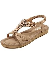 1b1e3208474fb2 Zicac Women s Open Toe Sandals Summer Bohemia Rhinestone Flower Bead Folk  Dunlop Sandals Boho Beach Flip Flops Elastic T-Strap…