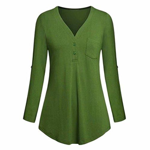 Damen Tops Daoroka Damen 3/4-Roll-Up-Ärmel V-Ausschnitt Taschen Knopf Split Casual Lose Mode Solide Herbst Bluse Hemd M grün -