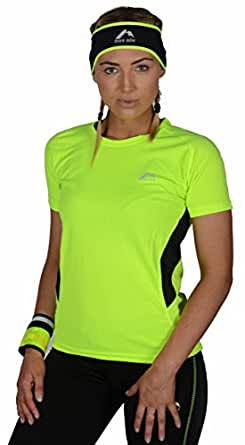 Womens More Mile Short sleeve running top (8, Yellow)