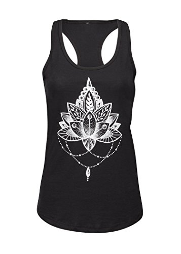 Schwarzes Lotus Blume Damen Yoga Pilates T-Shirt Top – Gr. XL