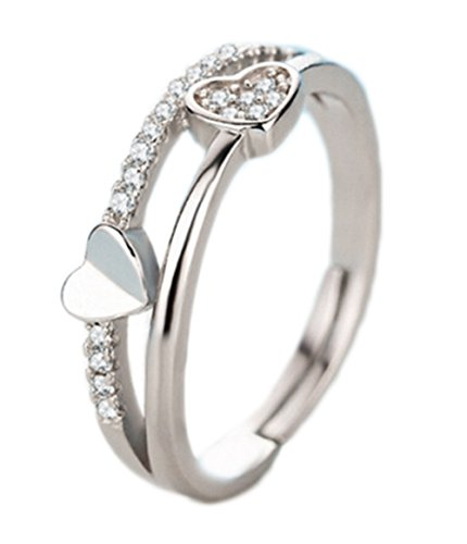 Hosaire Elegant Heart-shaped Diamond Ring Crystal Open Rings Wedding Jewelry For Women-It Can Be adjustable