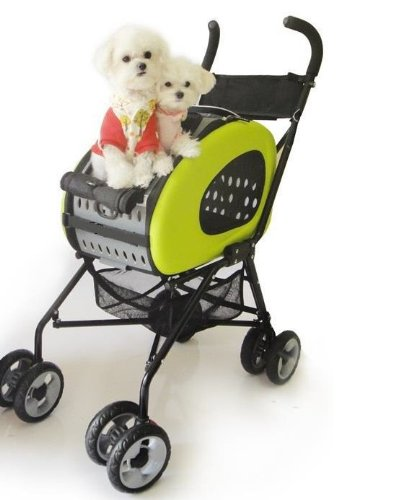 InnoPet® Buggy 5 in 1 Hundebuggy + Trolley + Tasche + Autositztasche in einem Hunde Limone
