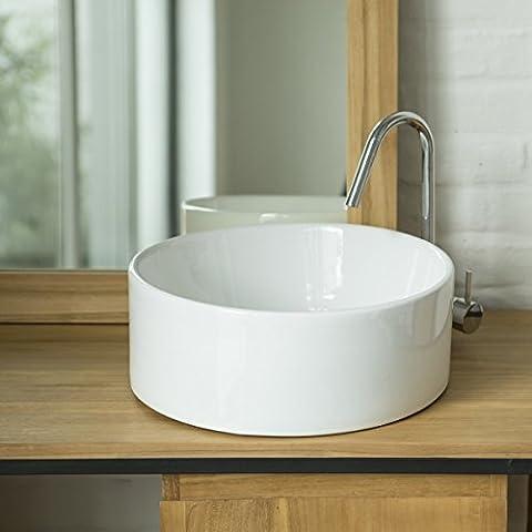 Rundes Waschbecken aus Porzellan Aufsatzwaschbecken 25 cm Durchmesser