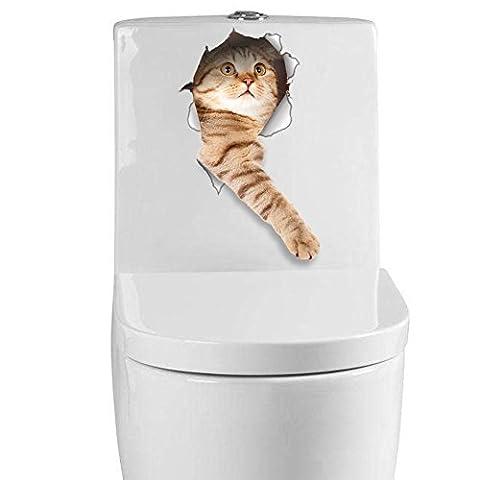 3D Creative Kitten Puppy Toilet Stickers Funny Bathroom Decals Multi-Purpose