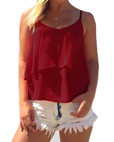 ZANZEA Damen Ärmellos Chiffon V-Ausschnitt Party Sommer Strand Club Shirt Tank Tops Rot EU 36/Etikettgröße S (Damen Top Ärmellos V-ausschnitt)