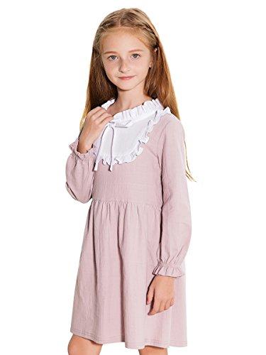 Sanlutoz Prinzessin Mädchen Kleid Bogen Kinder Kleider Baumwolle Kleinkind Kleidung Langarm Urlaub (7-8 Jahre / 130cm, KDW7107)