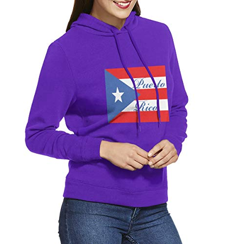 Eamibay Puerto Rico Long Sleeve Women's Hoodie Sweatshirt Drawstring Hooded Pullover Tops Blouses Purple L
