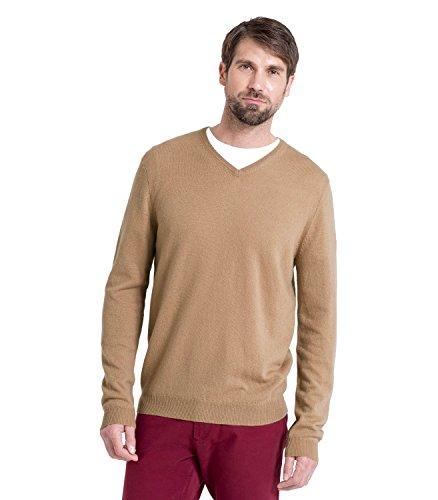 WoolOvers Pullover mit V-Ausschnitt aus Merinowolle-Kaschmirwolle für Herren Camel