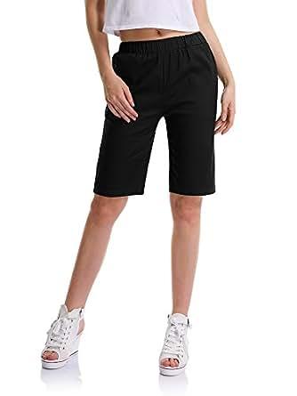 Femme Shorts Loose Bermuda Chino Casual Cordon de Serrage Loose #9500 Noir Etiquette M