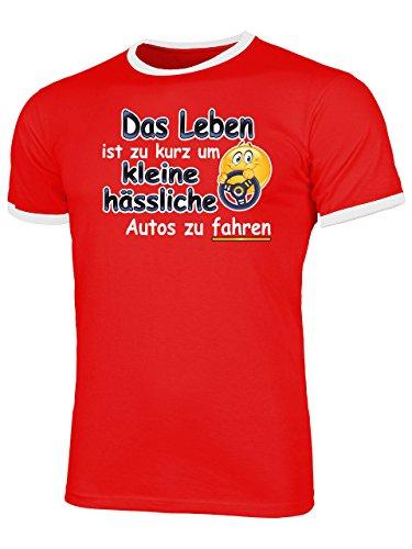 Das Leben ist zu Kurz um Kleine Hässliche Autos zu Fahren 4558 Herren Ringer T-Shirt (HR=Rot/Weiss) Gr. XL