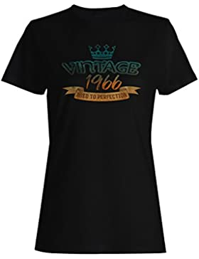 Vintage 1966 envejecido a la perfección hecho en llevado camiseta de las mujeres kk65f