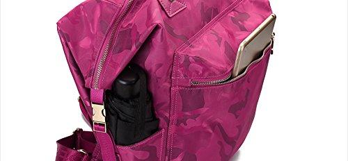 Große Kapazität Reisen Schulter Tasche weiblichen Oxford Tuch Korean wilden Anti-Diebstahl Leinwand Mama Rucksack ( Farbe : Rose red ) Schwarz
