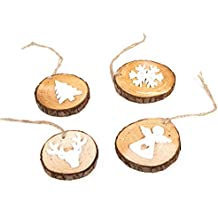 Set: 4 Stück Weihnachtsanhänger Holz-Anhänger WEISS braun natur runde Baumscheiben (5 - 8 cm) mit Schneeflocke Christbaum Hirsch Engel - Christbaumanhänger Weihnachtsdeko Geschenkanhänger