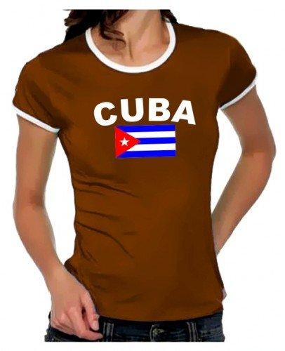 KUBA FLAGGE Cuba libre Girly Ringer braun/weiss, Gr.L