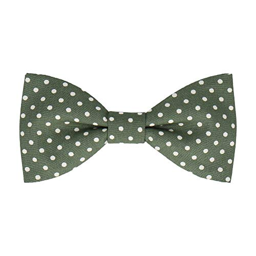 Mrs Bow Tie Chiswick Fliege with Dots, Selbstbinde Fliege - Dunkles Olivgrün Dot Self-tie Bow