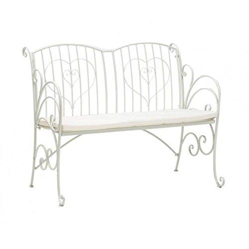 Gartenbank aus Eisen Weiß mit Kissen weiß und Herzen 115x 40x 95cm Disraeli
