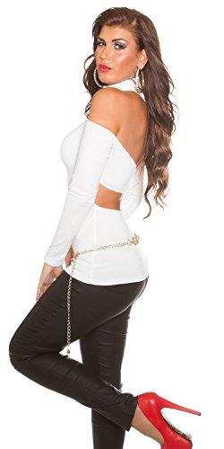 KouCla Extravagantes One Shoulder Damen Oberteil mit Rollkragen Weiß