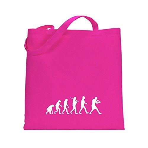 Shirtfun24 Baumwolltasche EVOLUTION BOXER Boxen, emerald (grün) fuchsia pink rosa