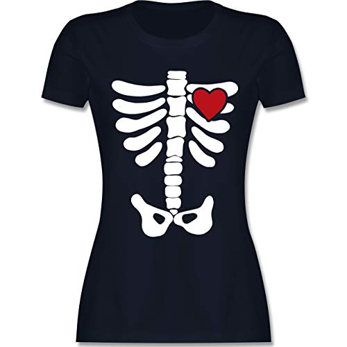 Halloween - Skelett Herz Halloween Kostüm - M - Navy Blau - L191 - Damen Tshirt und Frauen T-Shirt