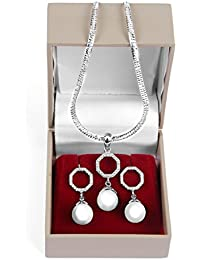 RAJAT ADORE 925 Sterling Silver Imported OFF WHITE Pearl Pendant Earring Set For Girls And Women