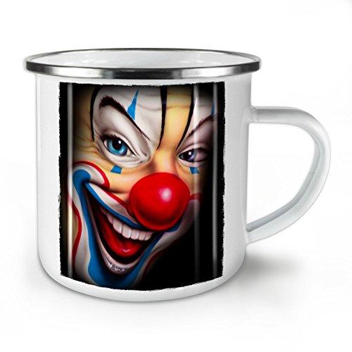 Wellcoda Clown Unheimlich Gruselig Grusel Emaille-Becher, Lächeln - 10 Unzen-Tasse - Kräftiger, griffiger Griff, Zweiseitiger Druck, Ideal für Camping und Outdoor