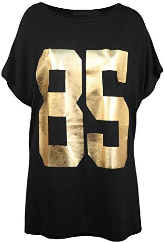 Neue Frauen Plus Size Goldfolie gedruckt 85 Anzahl T-Shirts 44-54 Black