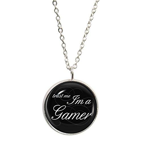 1StopShops Trust Me I 'm A Gamer Design Anhänger und Silber plattiert Halskette Set (Gamer Ps3)