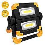 Proiettore Portatile Luce LED, T-SUN 20W Lavoro Luce da Campeggio Esterni con Cavo USB, 5000mAh Faretto a LED Portatile Ricaricabile, Luce Bianca di Sicurezza Emergenza. (Rotazione 360 ° )