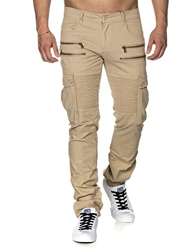 TAZZIO Slim Fit Biker Style Herren Stretch Chino Hose Denim 16507 Beige 32/32