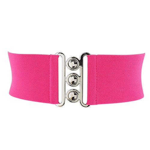 Fashiongen - Damen Breiter elastische gürtel, GLORIA, In Frankreich Hergestellt - Fuchsie, XL / 44 bis 46