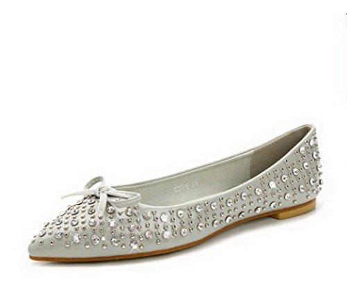 AalarDom Damen Ziehen Auf Eingelegt Ohne Absatz Flache Schuhe mit Nietbolzen Grau