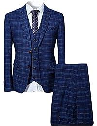 Costume Homme 3 Pièces Tuxedo Slim Fit à Carreaux Deux Boutons d'affaire Mariage Trois Pièces Veste+Gilet+Pantalon