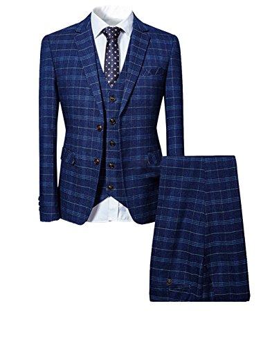 Costume Homme 3 Pièces Tuxedo Slim Fit à Carreaux Deux Boutons d'affaire Mariage Trois Pièces Veste+Gilet+Pantalo