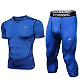 MeetHoo Ensemble Compression Homme Tenue Running Sport, Legging Homme Collant 3/4 Homme Jogging Sport Ensemble de Fitness Homme Vêtement