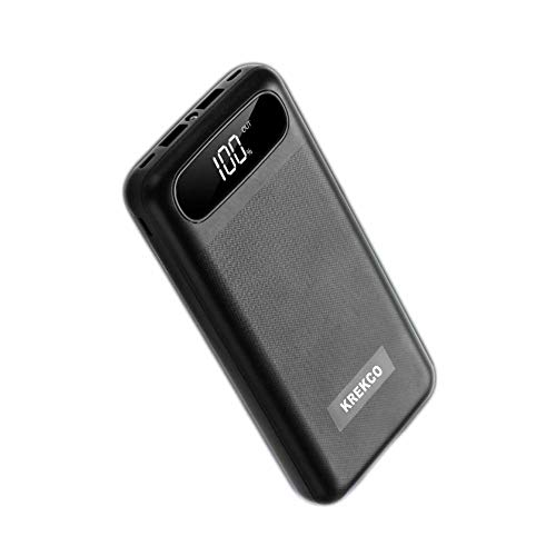 KREKCO Powerbanks 20000mah High Capacity Portable Charger LED Smart DigiStal LED Display External Battery For The All Type Phones-Black