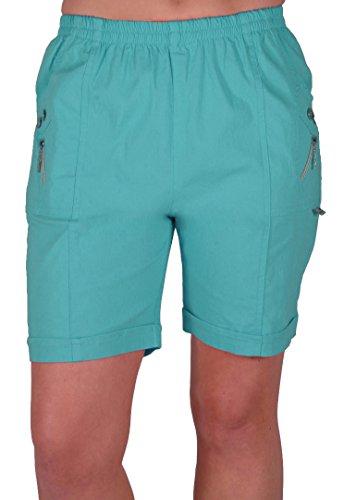 Eyecatch - Damen Entspannte Komfort Elasticized Flexi Stretch Damen Shorts Mollige Aqua Blau