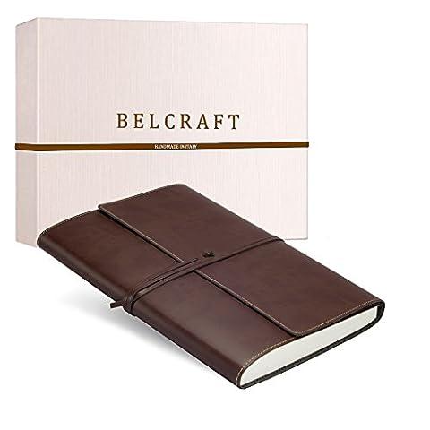 Vietri Classico A4 Journal Intime / Carnet de Notes en cuir recyclé de fabrication artisanale Italienne, Cadeau Spécial, Journal de Voyage, Notebook A4 (21x30 cm) Brun