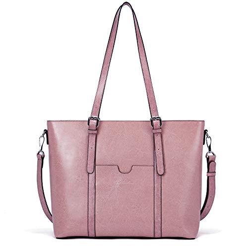 BOSTANTEN Damen Ledertaschen Schultertasche Frauen Designer Handtasche 14 15.6 Zoll Laptoptasche Tote Bag Rosa - Rosa Leder Damen Aktentasche