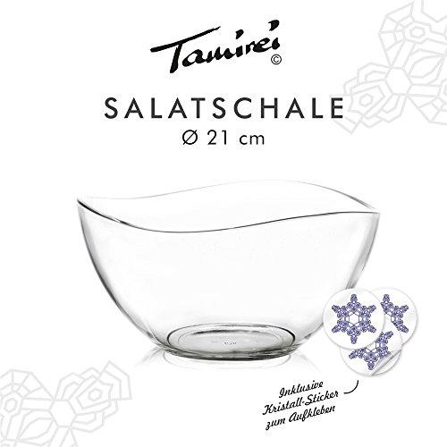tamirei de diseño, una Cuenco (Cristal, Grande, con borde curvado, 1.3litros de capacidad, Ensalada, compatible con Haber cuencos de tamirei Diseño