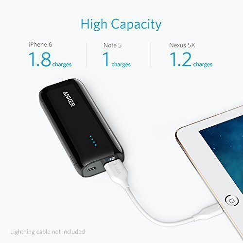 Anker Astro E1 5200mAh Ultra Compact Portable Charger External Battery Power Bank with PowerIQ Technology for iPhone, iPad, Samsung, Nexus, HTC, Huawei and More (Black)