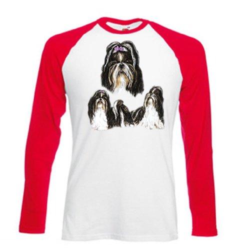 Hund Long Sleeve Tee (Einfach Tees Shih Tzu Hund Drei Bilder Erwachsene Long Sleeve Baseball T-Shirt Gr. Größe L, Weiß/Rot)