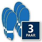Fußbodenaufkleber Set 3 Paar Schuhabdruck in blau – selbstklebend & rutschhemmend – Wegweiser Aufkleber Fußboden je 12x32 cm
