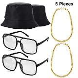 Norme 6 Stücke 80's 90's Hip Hop Kostüm Kit, 2 Unisex Baumwoll Eimer Hut, 2 Gold Ketten und 2 Alt Schule Kariert Brillen für Erwachsene und Kinder