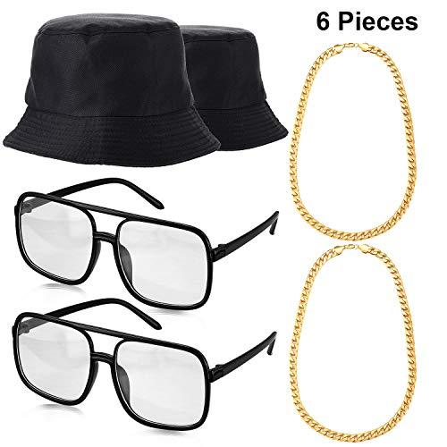 Adult Kostüm Kit - Norme 6 Stücke 80's 90's Hip Hop Kostüm Kit, 2 Unisex Baumwoll Eimer Hut, 2 Gold Ketten und 2 Alt Schule Kariert Brillen für Erwachsene und Kinder